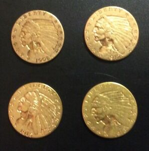4 NICE 1908 1912 1913 1915 GOLD INDIAN $2 1/2 DOLLAR 2.5 QUARTER EAGLE COIN