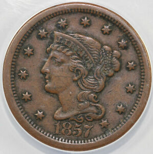 1857 1C N 1 LARGE DATE BRAIDED HAIR LARGE CENT ANACS EF 40 DETAILS CORRODED
