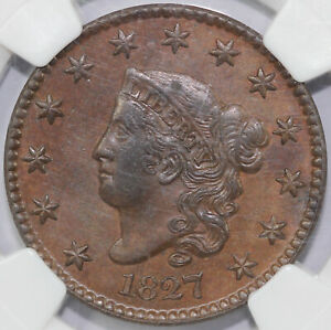 1827 1C N 1 CORONET OR MATRON HEAD LARGE CENT NGC AU 58