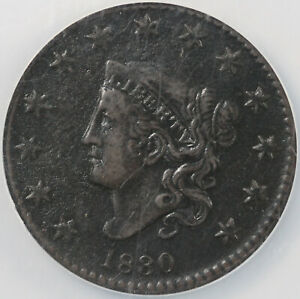 1830 1C LARGE LETTERS N 7 CORONET OR MATRON HEAD LARGE CENT NCS VF DETAILS CRDED