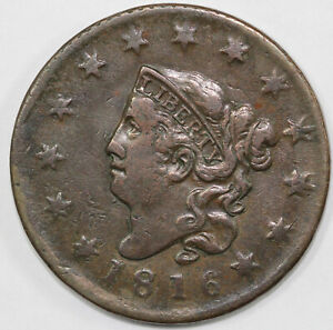 1816 1C N 9 CORONET OR MATRON HEAD LARGE CENT  LATE DIE STATE