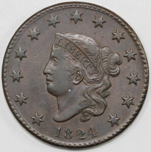 1824 1C N 3 CORONET OR MATRON HEAD LARGE CENT W/ PROVENANCE TAG