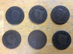 SIX 1821 CORONET HEAD LARGE CENT 1C COINS ALL SEMI KEY DATES