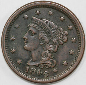 1846 1C N 3 BRAIDED HAIR LARGE CENT  LATE DIE STATE