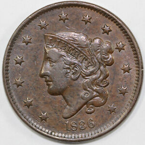 1836 1C N 1 CORONET OR MATRON HEAD LARGE CENT