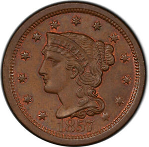 1857 1C LARGE DATE PCGS MS65BN CAC