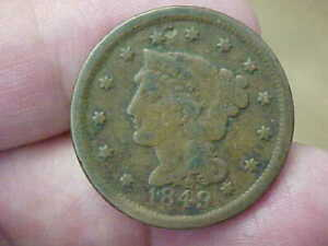 1849 BRAIDED HAIR LARGE CENT FULL RIM DATE LIBERTY LETTERING LETTERING TONED