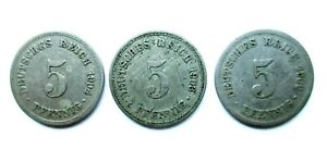 ALLEMAND EMPIRE LOT DE 3 X 5 PFENNIG 1900 A 1903 A 1904 A