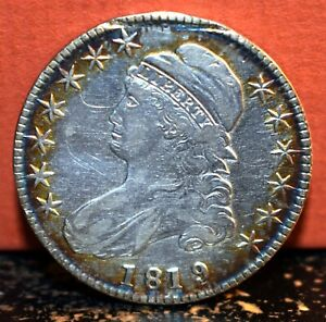 BEAUTIFUL EDGE TONED 1819 OVER 8 SILVER CAPPED BUST HALF DOLLAR / DOUBLE ERROR