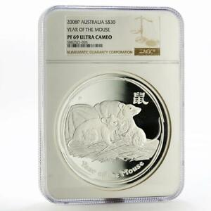 Click now to see the BUY IT NOW Price! AUSTRALIA 30 DOLLARS YEAR OF MOUSE LUNAR II PF 69 NGC SILVER PROOF COIN 2008