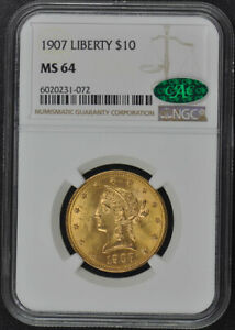 Click now to see the BUY IT NOW Price! 1907 EAGLE   MOTTO $10 NGC MS64  CAC