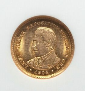 1904 NGC MS61 LEWIS & CLARK EXPO GOLD DOLLAR COMMEMORATIVE LOW MINTAGE 10 025