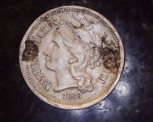 1868 THREE CENT NICKEL PIECE DAMAGED
