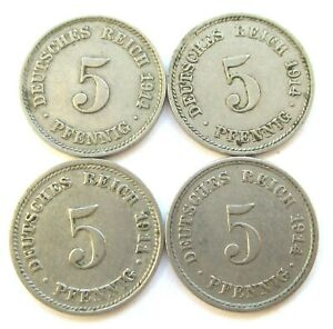 EMPIRE LOT DE 4 X 5 PFENNIG 1911 D 1914 A F G