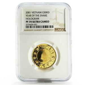 Click now to see the BUY IT NOW Price! VIETNAM 50000 DONG YEAR OF THE SNAKE PF 70 NGC POP   1 GOLD COIN 2001