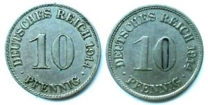 ALLEMAND EMPIRE LOT DE 2 X 10 PFENNIG 1914 F 1914 A