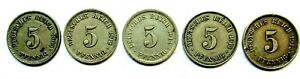 EMPIRE LOT 5 X 5 PFENNIG 1909 1912 1913 2 PICES 1914
