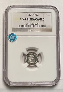 Click now to see the BUY IT NOW Price! HALF DIMES LIBERTY SEATED 1867 P NGC PF 67 ULTRA CAMEO
