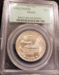 1936 PCGS MS65 OGH OLD GREEN HOLDER LUSTER BOMB WISCONSIN COMMEMORATIVE 50C HALF