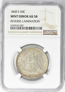 1868 S NGC AU58 SEATED LIBERTY HALF DOLLAR LAMINATION ERROR CIVIL WAR BETTER DT