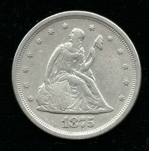 1875 S 20C TWENTY CENTS SEATED LIBERTY  VF DETAILS  TYPE SET COIN