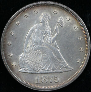 1875 20C TWENTY CENT PIECE  BEAUTIFUL COLOR AND LUSTER