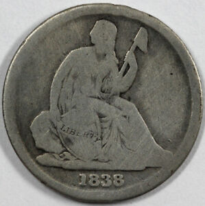 1838 O 10C NO STARS SEATED LIBERTY DIME