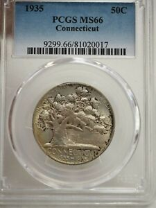 1935 CONNECTICUT COMMEMORATIVE HALF DOLLAR PCGS MS 66  0017