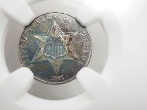 1861 SILVER 3C PIECE CIVIL WAR   UNC DETAILS NGC HOLDER  0015