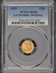 LA PURCHASE MCKINLEY 1903 G$1 GOLD COMMEM PCGS MS64