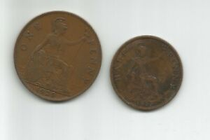 1929 GREAT BRITAIN  1 PENNY AND 1/2 PENNY