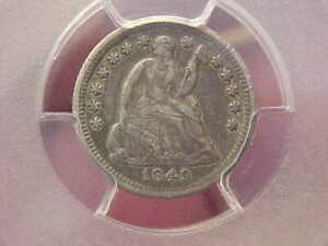 1849 O NEW ORLEANS SEATED HALF DIME PCGS VF FULL RIM LIBERTY SHIELD TONED