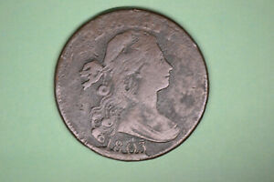 1803 DRAPED BUST LARGE CENT  FINE  WITH SOME ENVIRONMENTAL DAMAGE.  NEAT DIE CUD