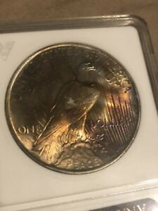 1922 PEACE DOLLAR MS 62 ANACS PURPLE TONED DOUBLE DIE