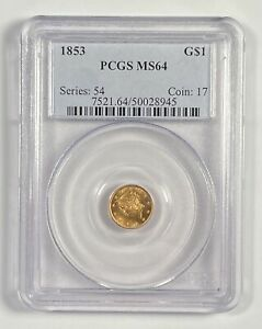 GOLD DOLLARS LIBERTY HEAD 1853 P PCGS MS 64