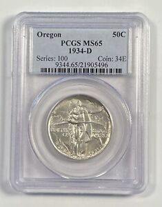 CLASSIC COMMEMORATIVE OREGON TRAIL MEMORIAL 1934 D PCGS MS 65   OREGON