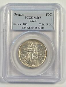 CLASSIC COMMEMORATIVE OREGON TRAIL MEMORIAL 1937 D PCGS MS 67   OREGON
