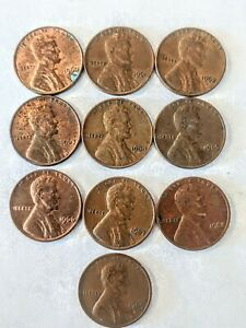 LINCOLN WHEAT CENTS PENNIES LOT OF 10. 1960'S.