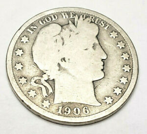 1906 D BARBER HALF DOLLAR    G   GOOD     90  SILVER     FREEE SHIPPING