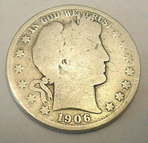 1906 O BARBER HALF DOLLAR   AG OR BETTER    90  SILVER