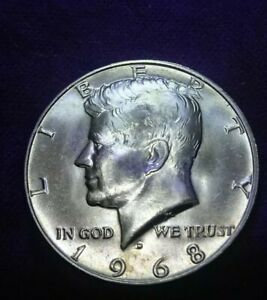 UNCIRCULATED 1968 D DENVER MINT 40  SILVER KENNEDY HALF   RPM ERROR