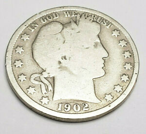 1902 P BARBER HALF DOLLAR    G   GOOD     90  SILVER      FREEE SHIPPING