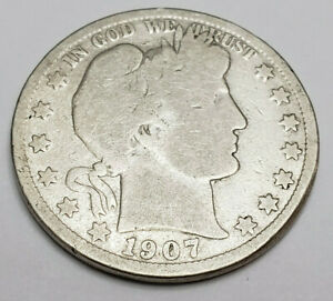 1907 S BARBER HALF DOLLAR    G   GOOD     90  SILVER