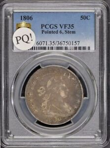 1806 50C POINTED 6 STEM DRAPED BUST HALF DOLLAR PCGS VF35