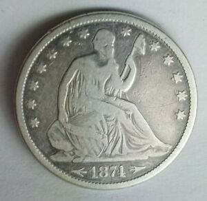 1874 P SEATED LIBERTY HALF DOLLAR WITH ARROWS IN VG CONDITION NICELY TONED