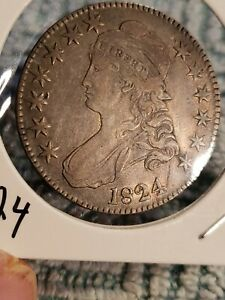 1824  CAPPED BUST HALF DOLLAR COLOR NO DISTRACTING MARKS VF