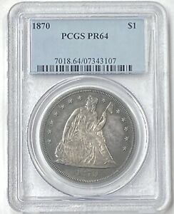 1870 P $1 SEATED LIBERTY SILVER DOLLAR PCGS PROOF 64 SMALL MINTAGE OF 1 000 PQ