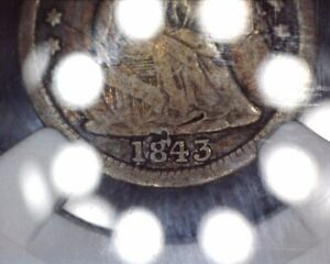 1843/184 RPD LIBERTY SEATED US HALF DIME H10C NGC VG DETAILS