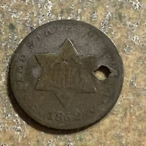 1852 3 CENT SILVER HOLED P136