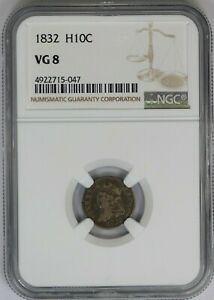 1832 NGC H10C SILVER CAPPED BUST HALF DIME VG8 GOOD US COIN